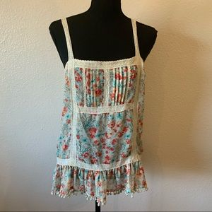 Sheer and Lace Floral Tank